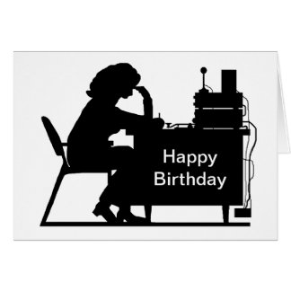 Lady Ham Copying Message Silhouette Birthday Card