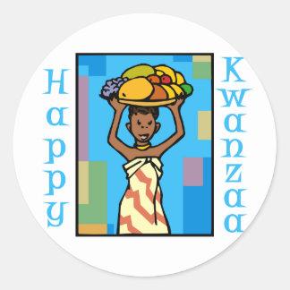 Lady Happy Kwanzaa Classic Round Sticker