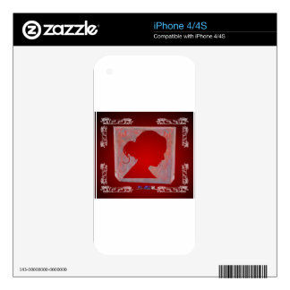 LADY HEAD RED CUSTOMIZABLE PRODUCTS iPhone 4S DECALS