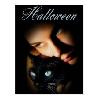 Lady & her Blue Eyed Cat Halloween Postcards