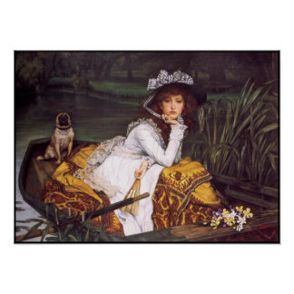 Lady & Her Pet Pug in a Boat by James Tissot Poster