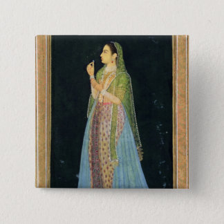 Lady holding a blossom, from the Small Clive Album Button