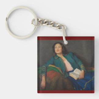 Lady Holding a Book Single-Sided Square Acrylic Keychain