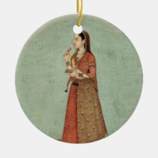 Lady holding a bowl of roses, from the Small Clive Ceramic Ornament