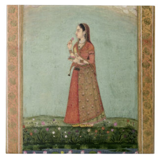 Lady holding a bowl of roses, from the Small Clive Ceramic Tile