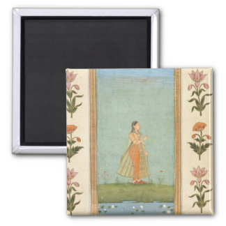 Lady holding a flower, standing by a lily pond, fr 2 inch square magnet