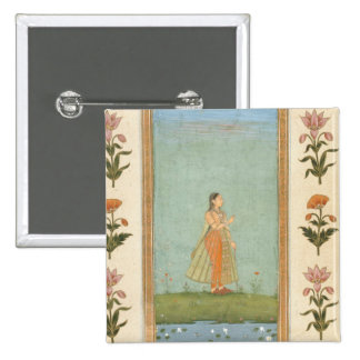 Lady holding a flower, standing by a lily pond, fr pinback button