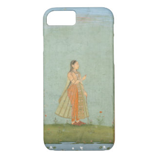 Lady holding a flower, standing by a lily pond, fr iPhone 7 case