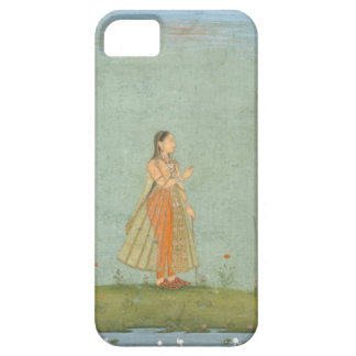 Lady holding a flower, standing by a lily pond, fr iPhone SE/5/5s case