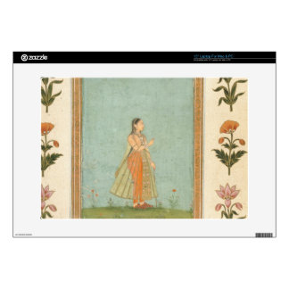 Lady holding a flower, standing by a lily pond, fr laptop skins