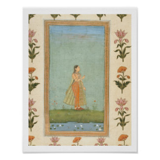 Lady holding a flower, standing by a lily pond, fr poster