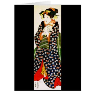 Lady Holding Cat 1843 Card