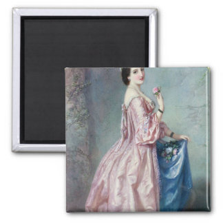 Lady holding Flowers in her Petticoat 2 Inch Square Magnet