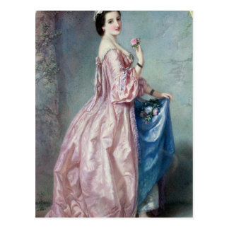 Lady holding Flowers in her Petticoat Postcard