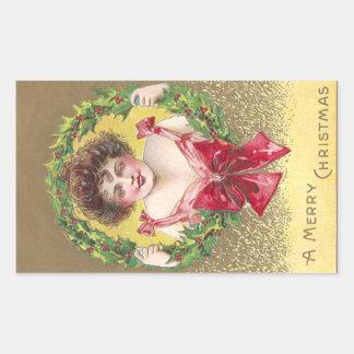 Lady Holding Holly Wreath Rectangular Sticker