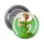 Lady Holding Shamrock Vintage St Patricks Day Buttons