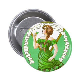 Lady Holding Shamrock Vintage St Patricks Day 2 Inch Round Button