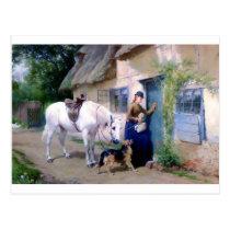 Lady Horse German Shepherd Cottage visitors Postcard
