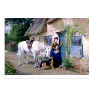 Lady Horse German Shepherd Cottage visitors Postcard