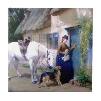 Lady Horse German Shepherd Cottage visitors Small Square Tile