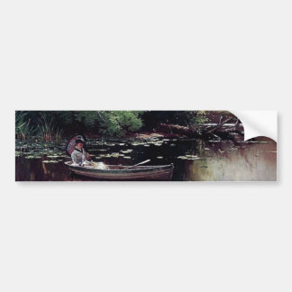 Lady in a boat antique painting bumper sticker