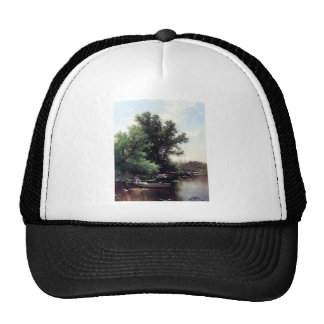 Lady in a boat antique painting trucker hat