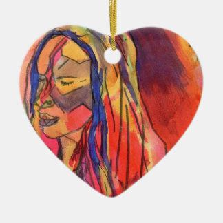 Lady in a ceramic heart ceramic ornament