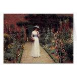 Lady in a Garden - Edmund Blair Leighton Greeting Card