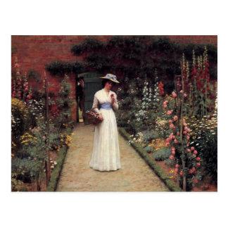 Lady in a Garden - Edmund Blair Leighton Postcard