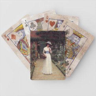 Lady in a Garden Oil Painting Bicycle Playing Cards