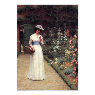Lady in a Garden Oil Painting Card