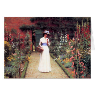 Lady in a Garden Postcard Card