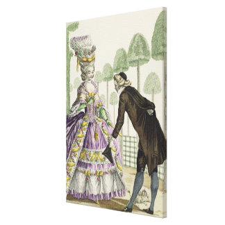 Lady in a Lilac Dress Promenades in the Gardens of Gallery Wrapped Canvas