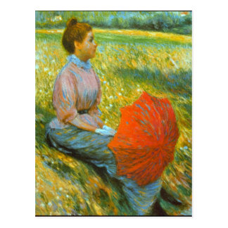 Lady in a Meadow by Federico Zandomeneghi Postcard