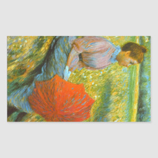 Lady in a Meadow by Federico Zandomeneghi Rectangle Stickers