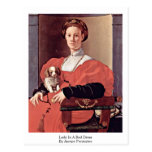 Lady In A Red Dress By Jacopo Pontormo Post Card