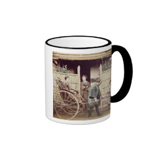 Lady in a rickshaw, c.1890s (coloured photo) ringer coffee mug