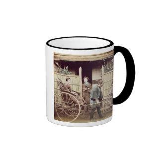 Lady in a rickshaw, c.1890s (coloured photo) coffee mug