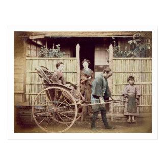 Lady in a rickshaw, c.1890s (coloured photo) postcard
