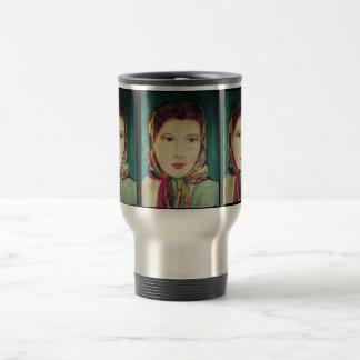 LADY IN A SCARF, ARTWORK travel mug