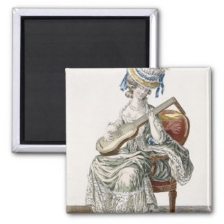 Lady in a Shot Taffeta Dress Trimmed with Lace Pla 2 Inch Square Magnet