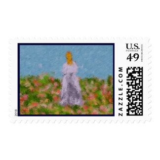 Lady in a Summer Field Postage Stamp
