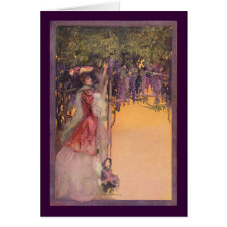 Lady in a Wisteria Garden Greeting Cards