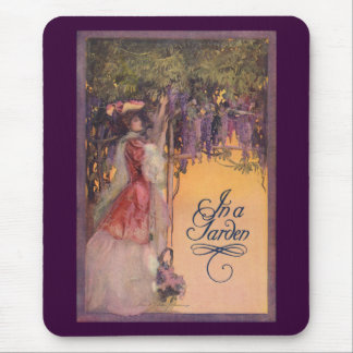 Lady in a Wisteria Garden Mouse Pad