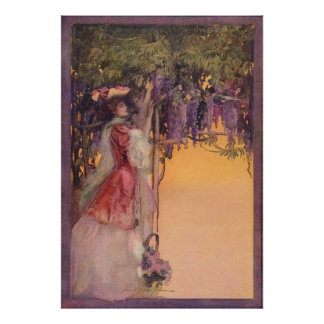 Lady in a Wisteria Garden Poster