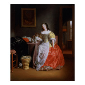 Lady in a yellow and red dress poster
