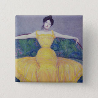 Lady in a Yellow Dress, 1899 Pinback Button