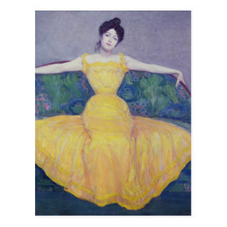 Lady in a Yellow Dress, 1899 Postcard