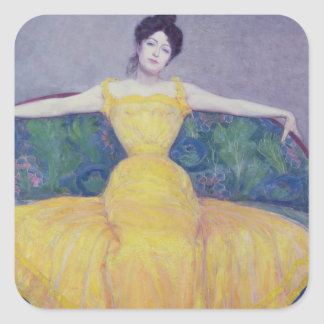 Lady in a Yellow Dress, 1899 Square Sticker
