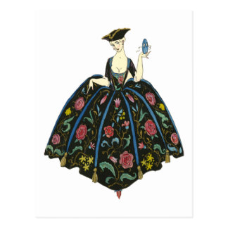 Lady In Ball Gown - Vintage Illustration Postcard